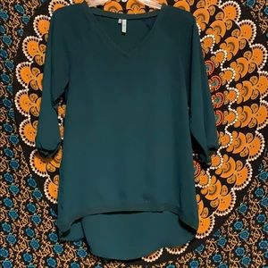 Dark Teal Green Blouse w Ribbed Cotton Style Trim